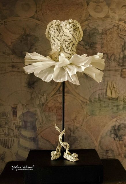 Altered Book Ballerina Sculpture by Malena Valcárcel. Click through to see more of her beautiful art and paper jewelry.
