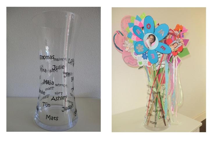 Afscheid~: namen van de kids van de groep op de glazen vaas en dan mooie geknutselde bloemen er in!