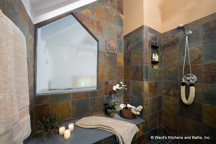 Slate Tiles In Bathroom Shower Baths Pinterest