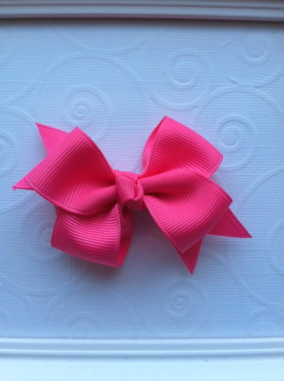 Hot Pink Classic Hair Bow by CCsChicBowtique on Etsy, $2.50