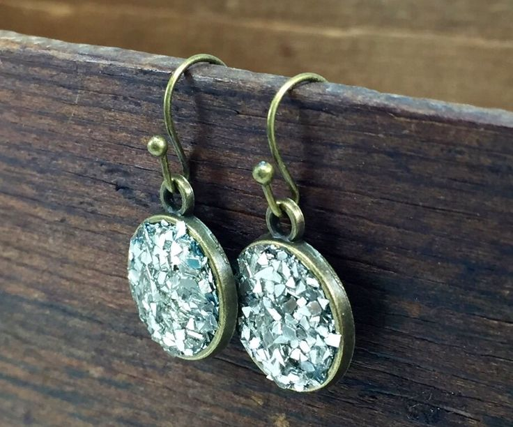 Glitter and Sparkle Silver and Gold Drop Earrings, Druzzy Look Earrings, Mixed Metal Earrings by kyleemaedesigns on Etsy