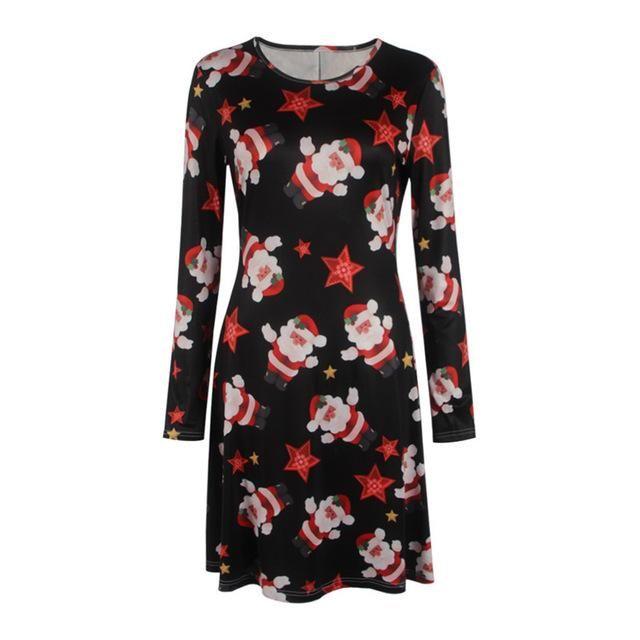 Autumn Winter Dress Women Long Sleeve Christmas Print Casual Dresses. Gender: Wo…