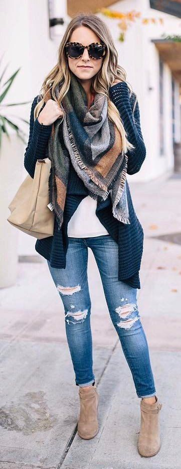 Navy Cardigan, Ripped Skinny Denim, Beige Suede Booties, Printed Scarf