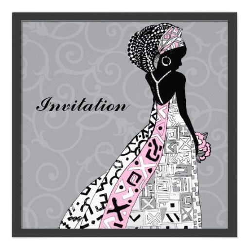 African American Bride Wedding Invitation