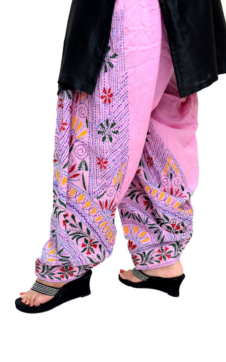 S.K. Ethnic India Pink Hand Embroidered Cotton Patiala Salwar