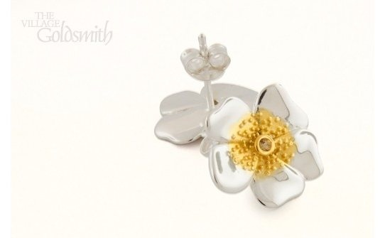 Sterling Silver Pansy Stud Earrings - The Village Goldsmith  Crafted in Sterling silver with gold plated highlights, these Pansy stud earrings are sure to add a little sunshine to your day. $85