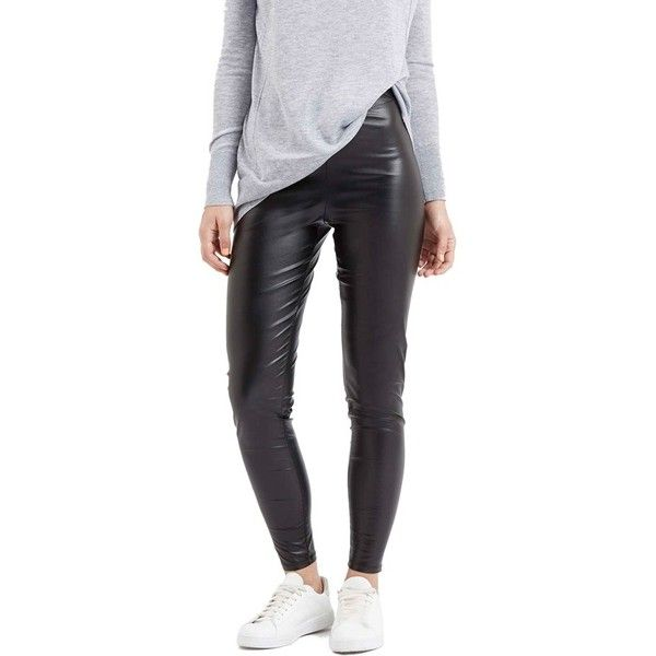 Topshop 'Wet Look' Leggings ($35) ❤ liked on Polyvore featuring pants, leggings, black, shiny black leggings, shiny leggings, wet look pants, black pants and shiny pants