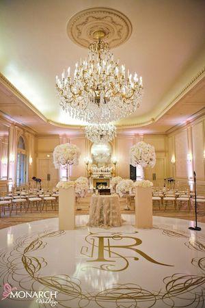 #1920's in Paris inspired #Vintage #blush #wedding at #Westgate hotel.   Floral by Karen Tran - #Karentran. Custom #dancefloor. Wedding Planner: MONARCH WEDDINGS (www.monarchweddings.com)