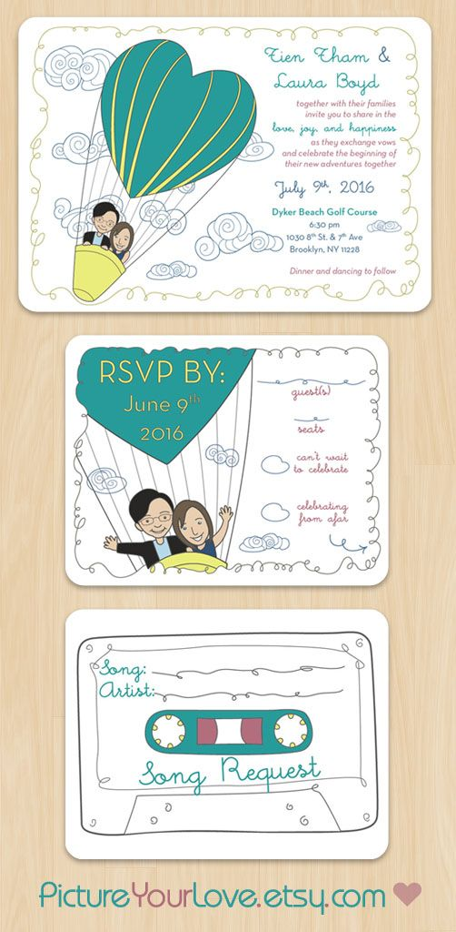 "Picture Your Love specializes in cute cartoon portraits for couples and wedding stationery!  These wedding invitations and RSVPs are the perfect announcement for a ""Love is in the Air"" theme! Each couple will be illustrated to their likeness in the same pose. Colors are customizable to each couple! Song Request is printed on the other side of each RSVP card. Layout design remains the same."