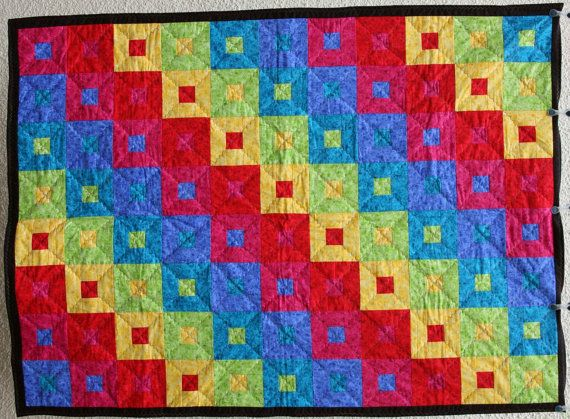 Rainbow Patchwork Quilt Spectrum Steps by PingWynny by PingWynny, $180.00