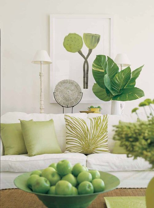Greenery Pantone Color Of The 2017 Year Used As An Accent For Decorating A Bright Interior Green Decor Living Room Green Green Interiors