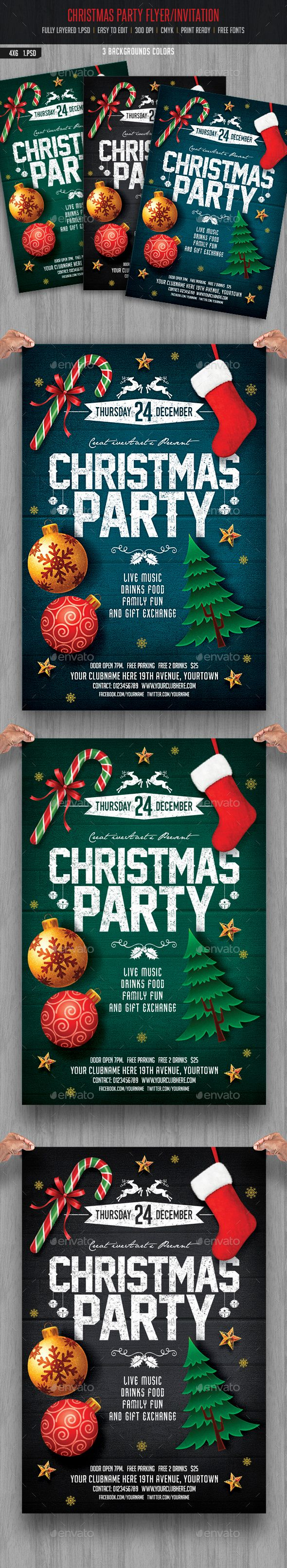 Christmas Party Flyer/ Invitation Template PSD #design #xmas Download: http://graphicriver.net/item/christmas-party-flyer-invitation/13750884?ref=ksioks