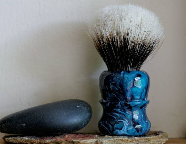 Shaving Brush - Watery Abyss Resin Handle Hand-Made with Two Band Finest Badger Knot - Chubby Style by LoveYourShave on Etsy