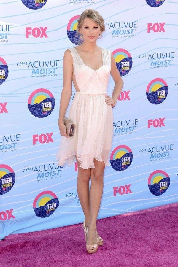 Taylor Swift Teen Choice Awards Sweetheart Neckline Shoulder Straps Dress