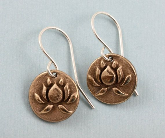 Lotus Blossom Yoga Earrings Gold Bronze by gooseberrystudio