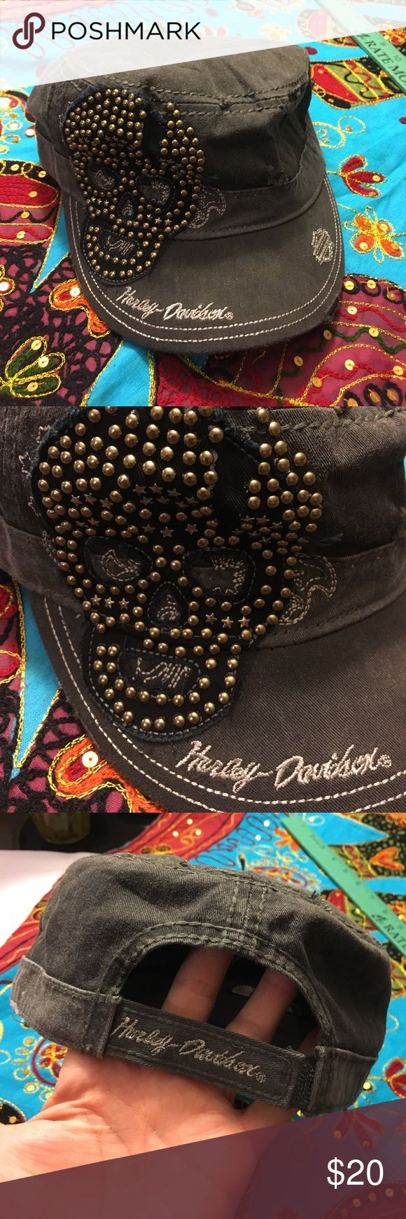 Harley Davidson Hat. New. Gray Harley Davidson hat with gold tone rivers accenting a skull. Great attitude!Adjustable strap in back. New without tags. Has NOT been worn. Harley-Davidson Accessories Hats