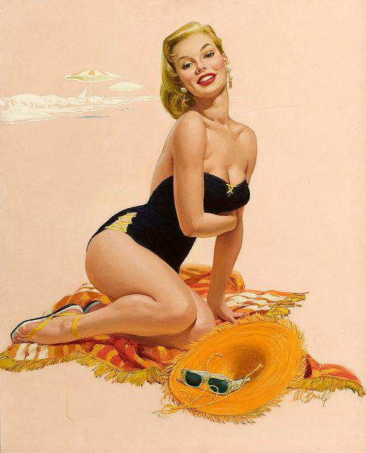 There's just something so glamorous about a curve hugging black swimsuit. #vintage #pinup #art #beach #summer