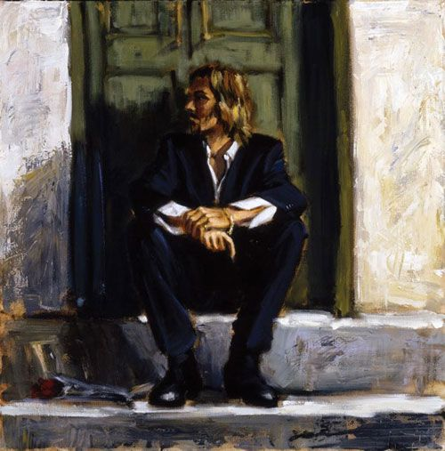 Self portrait Fabian Perez - Waiting for the romance to come ...
