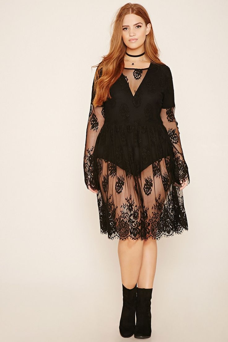 Forever 21+ - A sheer knit lace dress with floral embroidery throughout, a round neckline, long bell sleeves, eyelash lace trim, and an elasticized waist.