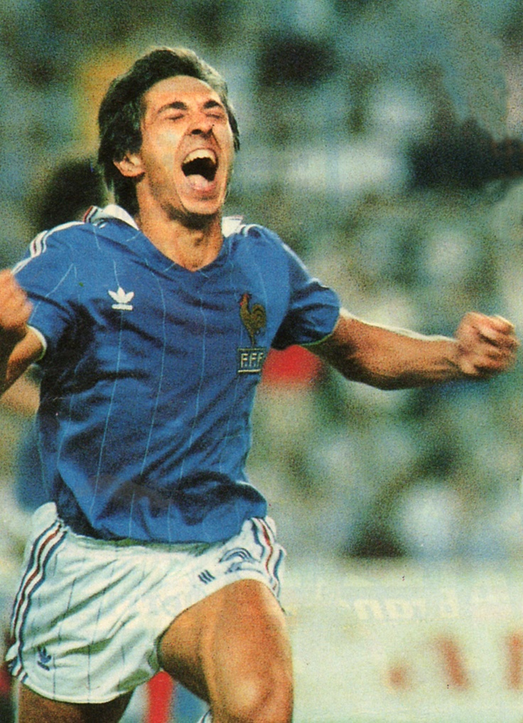 Alain Giresse in the most wonderful expression of joy in soccer history. France Allemagne 1982