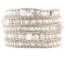 African Opal Mix Laureato braccialetto dell'involucro su cuoio Petal