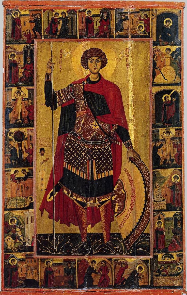 St. George the Great Martyr and Trophy-bearer, with scenes from his life and martyrdom - 13th century icon from St. Catherine's Monastery, Mount Sina