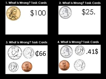 Writing Coin Value Task Cards (32 Task Cards)TEK 2.5 B-The student will use the cent symbol, dollar sign, and the decimal point to name the value of a collection of coins.Awesome cards to help students write the value of coins.
