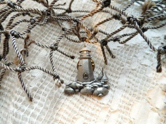 LIGHTHOUSE Sailboat Brooch Pewter JJ Jonette by OrphanedTreasure