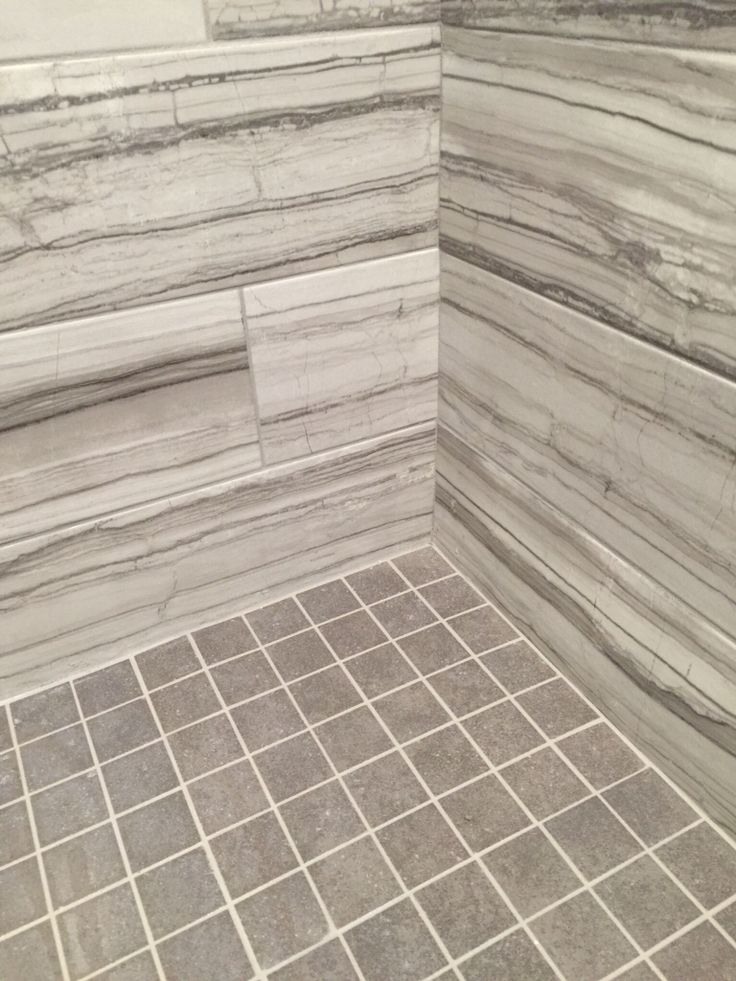 Make Photo Gallery VitaElegante Grigio Porcelain tile on the walls with Mitte Gray glazed porcelain square tile floor and Delorean grey grout in this custom shower