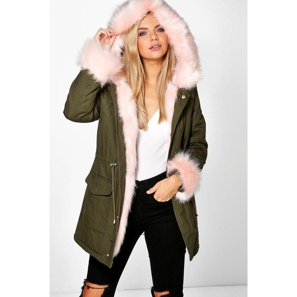 Boohoo Boutique Tia Detachable Faux Fur Cuff & Collar Parka (11420 DZD) ❤ liked on Polyvore featuring outerwear, coats, pink, pink coat, brown duster coat, pink duster coat, parka coats and duster coat