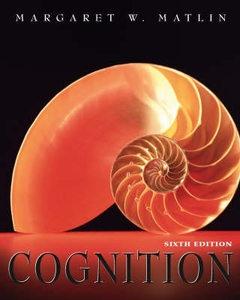 Cognition by Margaret W. Matlin (Hardback, 2004) 0471450073 ** Brand New **