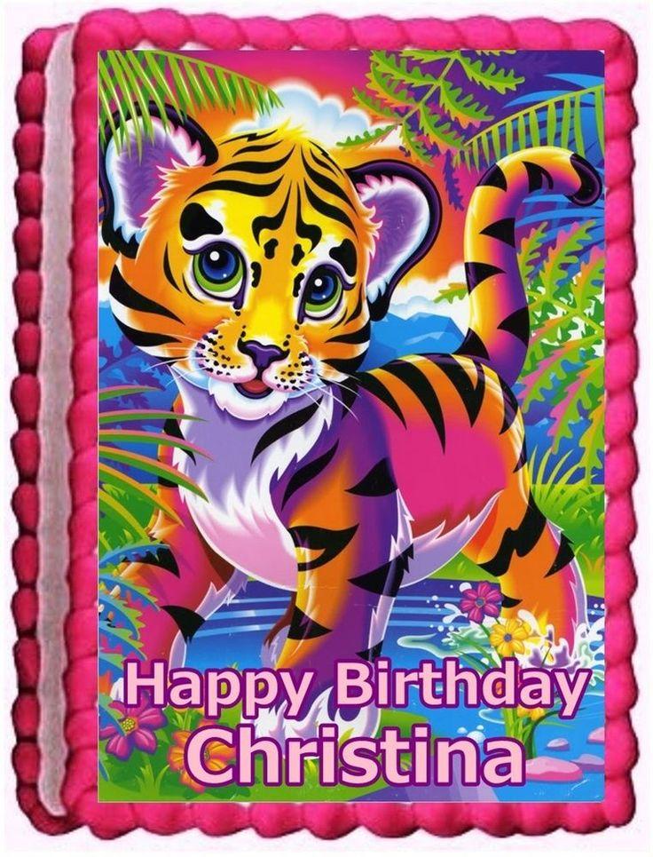 LISA FRANK TIGER EDIBLE CAKE TOPPER BIRTHDAY DECORATIONS  #BakeryCrafts #BirthdayChild