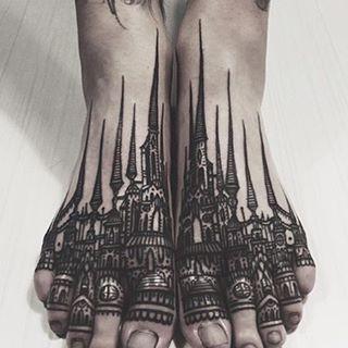 The tattoo castles of Houston Patton @thievesoftower #tattoo #art