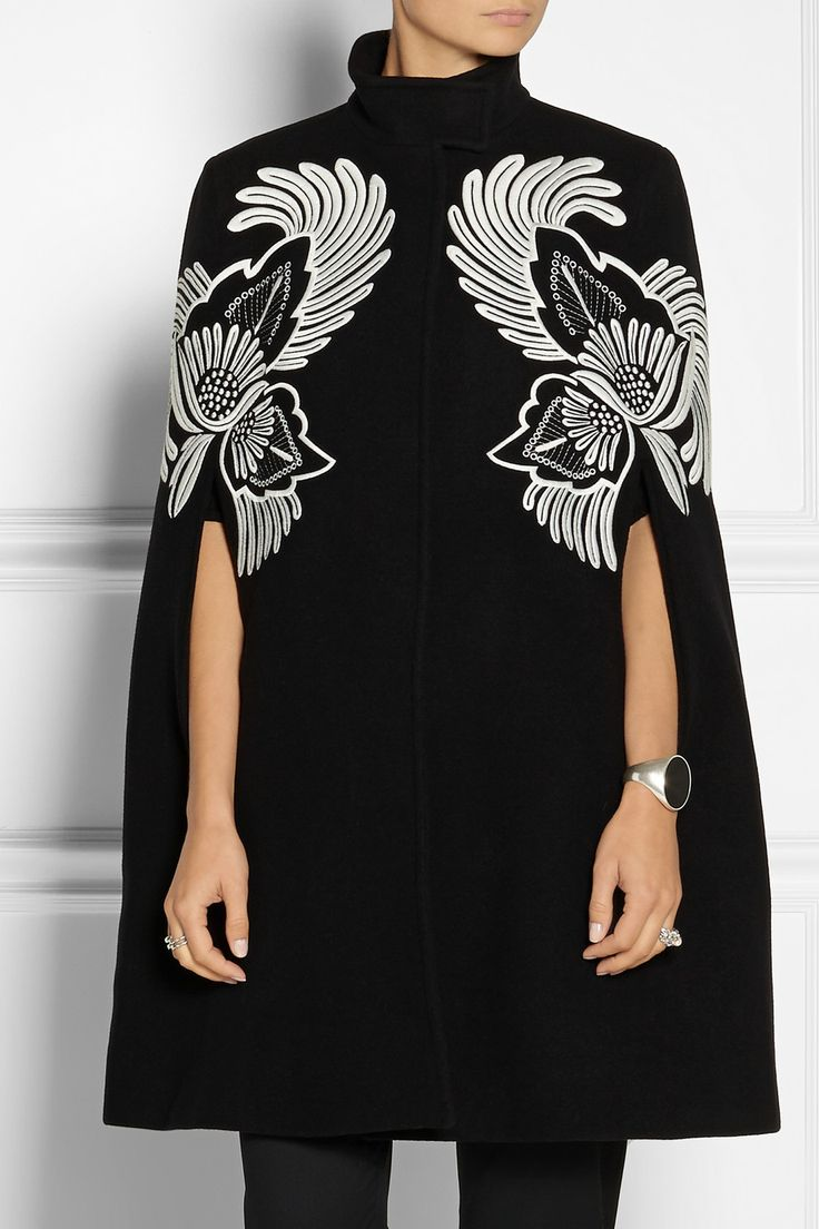 Stella McCartney | Floral-embroidered wool cape.  Totally striking.  #fallfashion