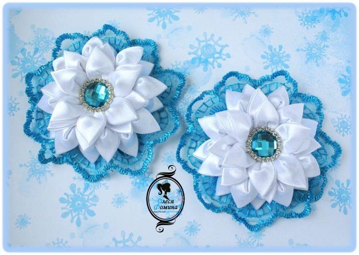 канзаши, с кружевом, новый год. снежные бантики, фомина