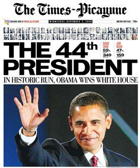 Barack Obama wins the 2008 election and becomes America's first black president.