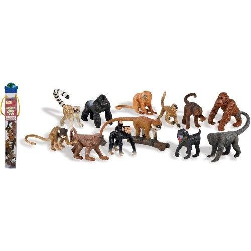 Monkeys and Apes Toob: Includes Baboon, Orangutan, Squirel Monkey, Golden Lion Tamarin, Lemur, Spider Monkey, Gorilla, Woolly Monkey, Mandrill, Capuchin, Chimpanzee and Red Tail Monkey
