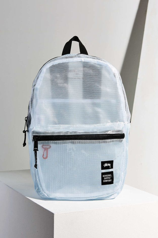A pale blue mesh backpack that's ~clearly~ adorable.