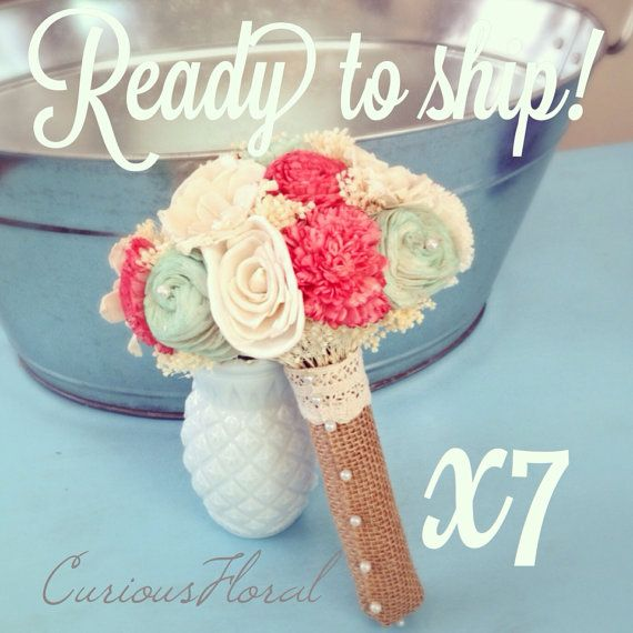 Ready To Ship  Ivory Mint Coral Rustic by CuriousFloralCrafts