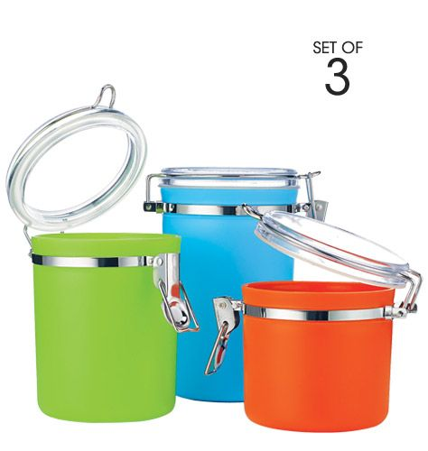 3-Piece Colorful Canister Set Brighten Up Your Kitchen