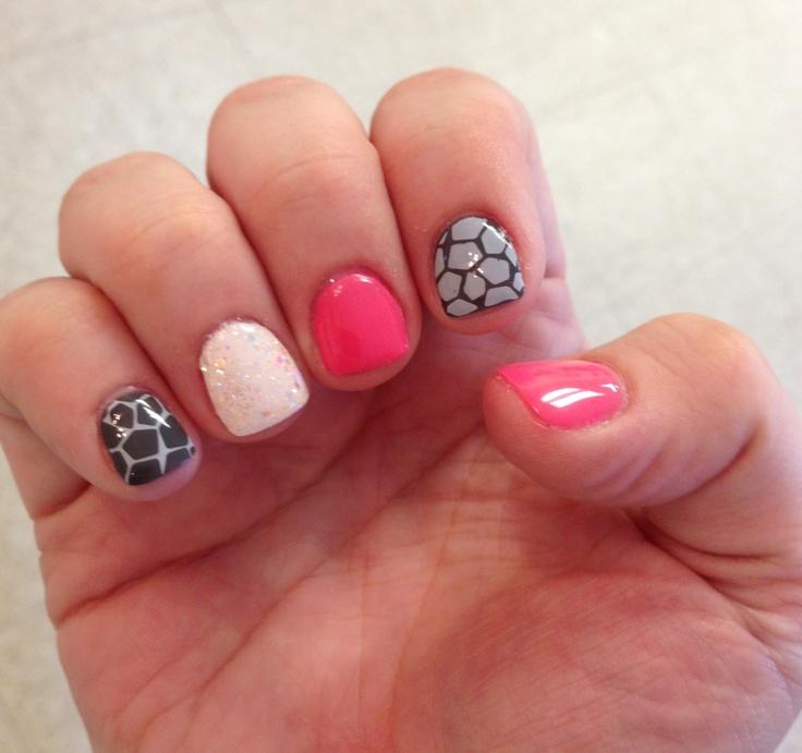 Giraffe nail  art pink grey white glitter gels