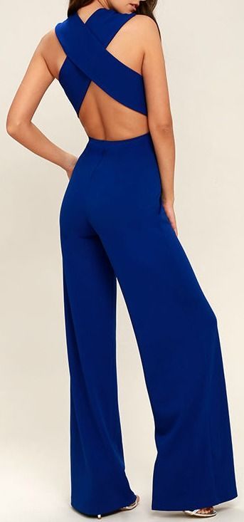 4c4f2fc3b413 Thinking Out Loud Royal Blue Backless Jumpsuit in 2019