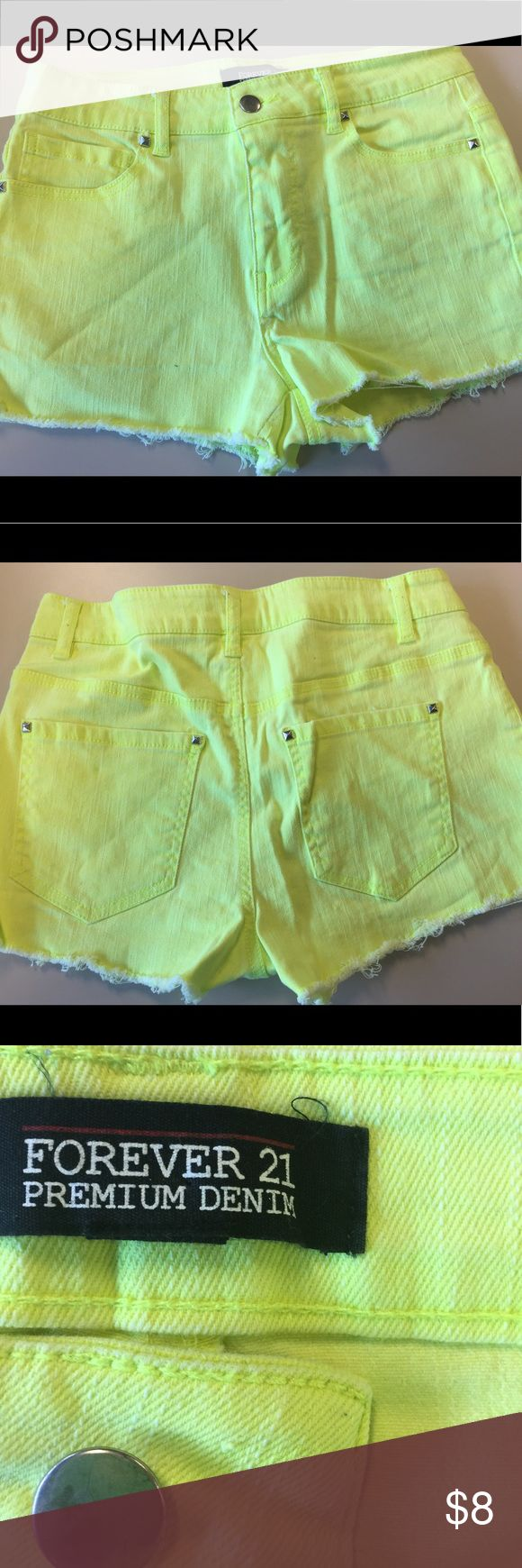 Denim Shorts Neon yellow shorts! Fun and flirty for sunny day. Forever 21 Shorts Jean Shorts