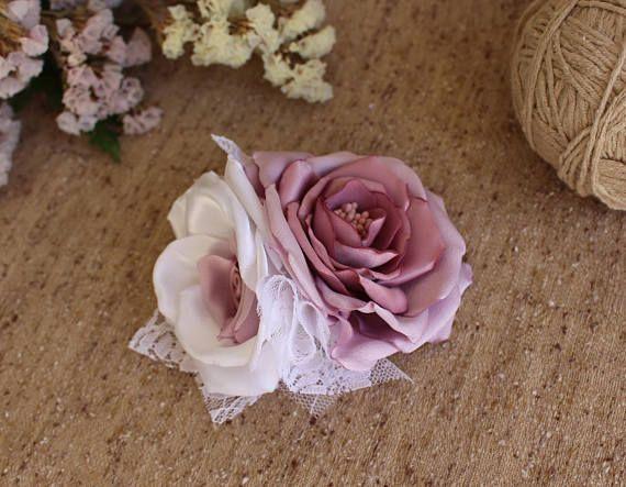 Mauve Bridal Hair Comb,Mauve white hair flower,Flower Girl Woman Hair Clip,Rose Hair Comb,Bridal bridesmaid Fascinator,Wedding Hair Comb