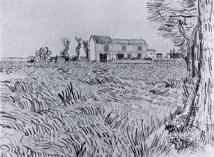 Farmhouse in a Wheat Field - Vincent van Gogh - WikiArt.org
