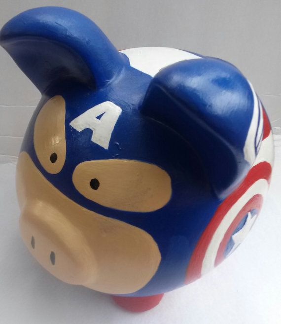 Avengers Assemble! The first avenger is now a one of a kind large cerramic piggy bank! It is MADE TO ORDER and customization is available. Just msg me.