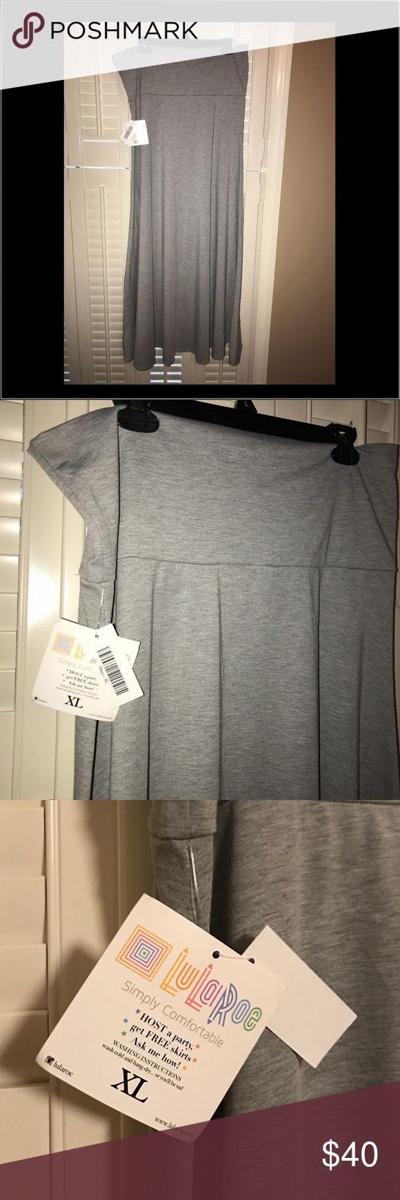 LulaRoe Maxi Skirt brand new with tags-never worn Size XL, medium gray, wide waistband that is approximately 6 inches wide.  Waistband can be turned down for tummy support- LuLaRoe Skirts Maxi