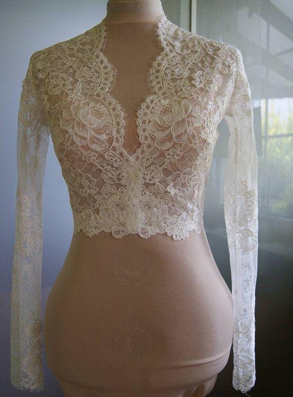 Wedding bolero-jacket of lace long sleeve 3/4 sleeve by TIFARY