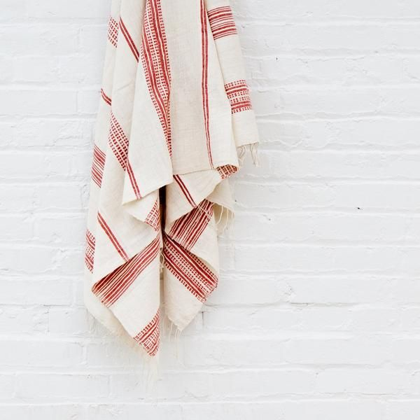 Handwoven Ethiopian cotton bath towel in adobe stripes | Ethiopia | TWENTY ONE TONNES