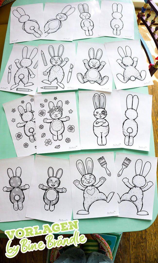 Niedliche Bunte Osterhasen Ganz Einfach Selber Basteln Und Bemalen Auch Ideal Zum Basteln Mit Kindern Fur Die Vorlage Osterhase Ostern Zeichnung Hasen Basteln